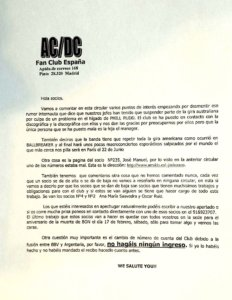 Carta baja Club ACDC